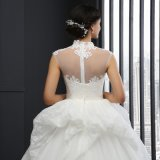 Lace High Neck Cap Sleeve Wedding Dress (SL-040)