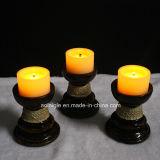 El oscilar ligero de la cera de vela del sostenedor del amarillo de la vela sin llama mínima de la batería