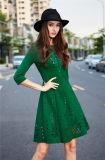 Dame-neues 3/4 Hülsen-Ausschnitt-Form-Kleid