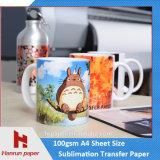 Бумага передачи тепла сублимации листа размера A4/A3 для талрепов/чашки кружки/коврика для мыши/трудной поверхности