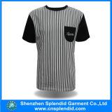 Les hommes rayés en gros de T-shirt court- le T-shirt de mode de chemise