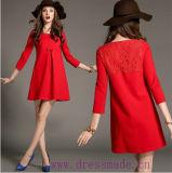 Платье краткости шнурка весны Euramerican шикарное яркое красное