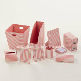 Stripe Printed Paper Cardboard Desktop Organizer Office Office Stationery Set
