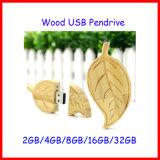 Usb-Stock-Blatt-Form USBPendrive hölzernes USB-Blitz-Laufwerk