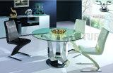 Tabela de jantar superior do vidro temperado moderno do pé do aço inoxidável de forma redonda (NK-DT068)
