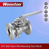 Qualität flanschte Kugelventil des Enden-2PC mit ISO5211 Befestigungsflansch ASME 300lbs