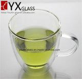 ホウケイ酸塩の耐熱性二重壁のガラスコップか飲むガラスのコーヒーエスプレッソジュースのコップ