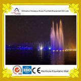Grande fonte de água da música do lago com luzes do diodo emissor de luz