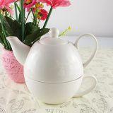 Insieme di ceramica personalizzato del POT del tè di colore bianco