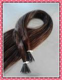 100% brasileña extensión del pelo humano I-Tip Queratina Cabello liso sedoso