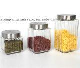 Contenitore di vetro di /Glass del serbatoio del vaso/articolo da cucina/di vetro modellato di memoria del campione libero con il coperchio del metallo
