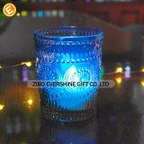 De hittebestendige Blauwe Houder van de Kaars van het Glas