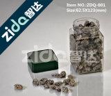 Tarro plástico del animal doméstico transparente con las tapas de aluminio
