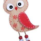 Ornamento de suspensão da coruja de madeira do Natal no estoque