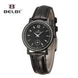 Linha ocasional relógio da maré da cinta de couro de relógio de senhoras da forma nova de Belbi de quartzo da face do prego do diamante