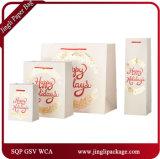 Sacs faits sur commande de cadeau de sacs en papier de cadeau de sacs en papier d'achats avec la bande de satin