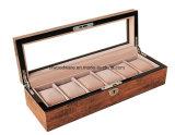 Contenitore di regalo di legno della visualizzazione dell'imballaggio della vigilanza del Brown di alto rivestimento popolare di lucentezza