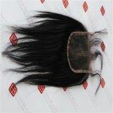 Fechamento do laço com cabelo humano brasileiro de Remy