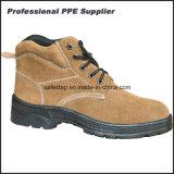 Chaussures de sûreté en cuir de confort de poids léger de suède pour l'ouvrier