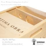 Boîte en bois en gros fabriquée à la main à vin de couleur normale de Hongdao pour le _E simple de bouteille