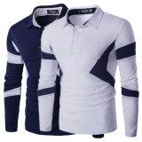 Dessus occasionnels de long ajustement mince de chemise de T-shirts de type de polo de l'automne des hommes