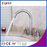 Faucet тазика ванной комнаты отверстия шеи 3 гусыни Fyeer широко распространённый