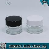 tarro poner crema de cristal claro cosmético de 15ml 15g con el casquillo plástico
