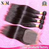 волосы девственницы 7A Brazillian с пачками волос закрытия 3 с Weave человеческих волос Remy закрытия шнурка бразильским прямым с закрытием