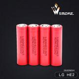 18650 батарея батареи Li-иона батареи 3000mAh 20A LG He2 перезаряжаемые