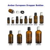 Янтарная стеклянная бутылка 15ml капельницы с черной безопасной крышкой