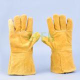 Isolierende langes Hülsen-Baumwollrindleder-lederne Handschuhe von Guangzhou