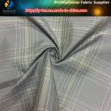 Hilado teñido de tela de tela escocesa gris en tejido de poliéster tejido para prendas de vestir (yd1179)