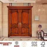 Porta de mogno da madeira contínua de entrada dianteira de porta de entrada dobro (GSP1-017)
