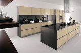 一義的な台所家具/木のラッカードアの光沢度の高い食器棚