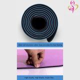 Estera superior de cuero de la yoga del forro del caucho natural de la PU del resbalón anti de encargo de la insignia de la aguafuerte del laser