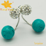 Smer-006 밝은 초록색 색깔 10mm 터키석 디자이너 귀걸이