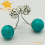 Smer-006 luz - brincos do desenhador de turquesa da cor verde 10mm