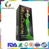 Caixa cosmética Foldable do fabricante da caixa para o batom com logotipo personalizado de carimbo quente do ouro