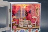 Decoração de madeira de alta qualidade Caixa de música da casa de boneca