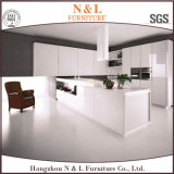 N & L Home Furniture White Color High Gloss Lacquer Madeira Gabinete de cozinha