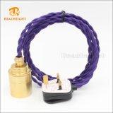 Cable eléctrico Twisted de la materia textil del enchufe del estándar británico 3pin con Scoket para el mercado BRITÁNICO
