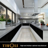 Moderne einfache kundenspezifische Küche konzipiert Lack-hölzerne Küche-Schränke mit Insel Tivo-0017V