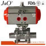 Válvula de esfera sanitária pneumática da braçadeira do aço inoxidável 3PCS