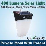 Indicatore luminoso solare del giardino del LED con la lampada esterna della mini parete bianca calda pura