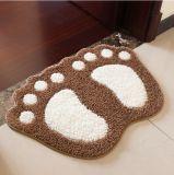 La forme en nylon d'impression de pied d'empreinte de pas de Microfiber pp de polyester acrylique/a formé des couvertures de porte d'étage de toilette de douche de salle de bains de Bath