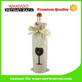 Sacs réutilisables comiques promotionnels de cadeau de bouteille d'emballage de vin de toile de jute de jute avec le guichet de PVC