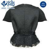Vestito sexy dalle signore del Breve-Manicotto della Slimering-Vita del merletto Collarless nero della Posteriore-Chiusura lampo