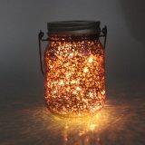 Luz de cristal de hadas solar al aire libre del tarro del resplandor caliente caliente del blanco LED