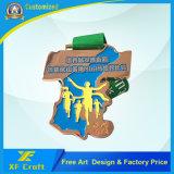 Médaille en alliage de zinc plaquée par or personnalisée bon marché en métal avec la bande