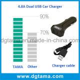 4.8A удваивают чернота переходники заряжателя автомобиля портов USB франтовская